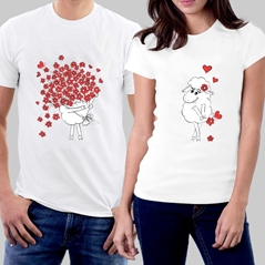 Flower Çift T-shirt'in resmi